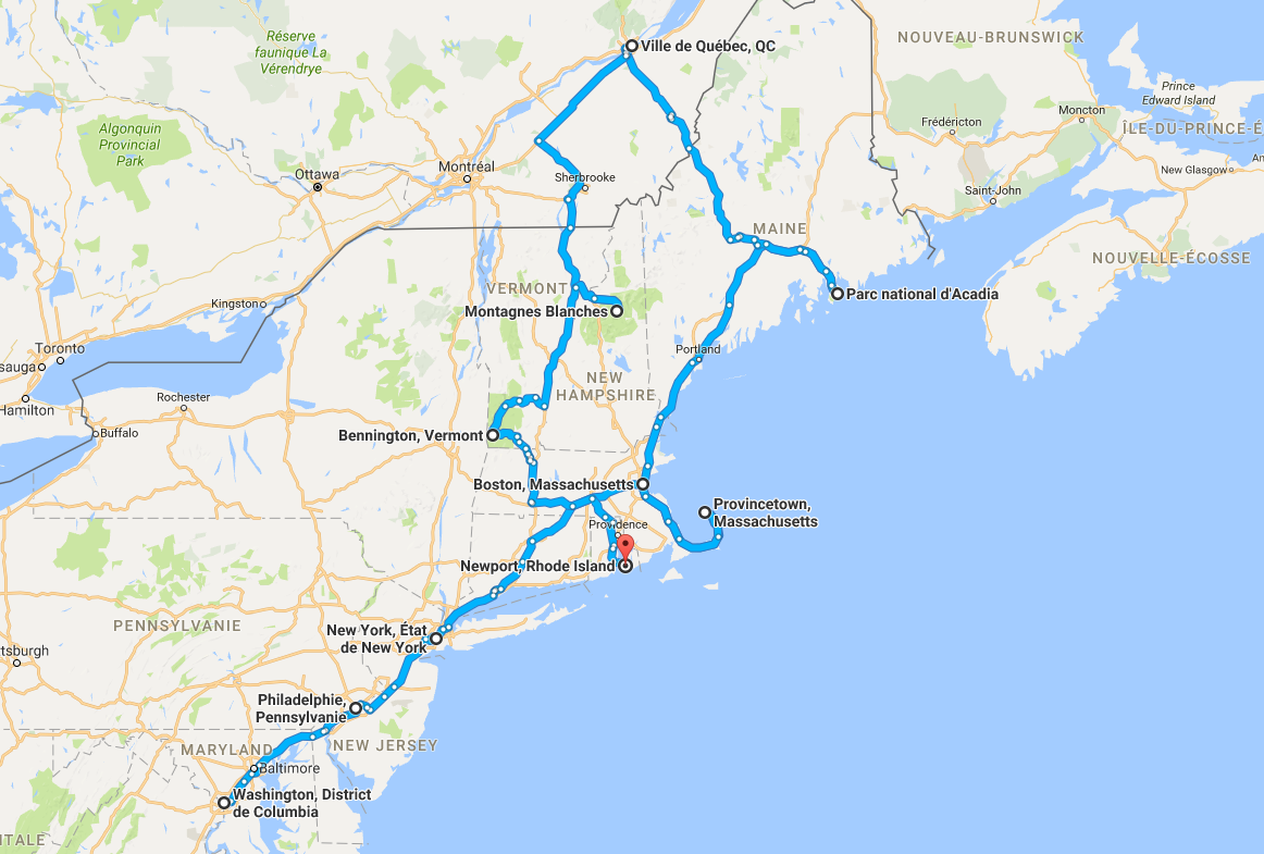 Parcours côte EST USA ou partir en voyage