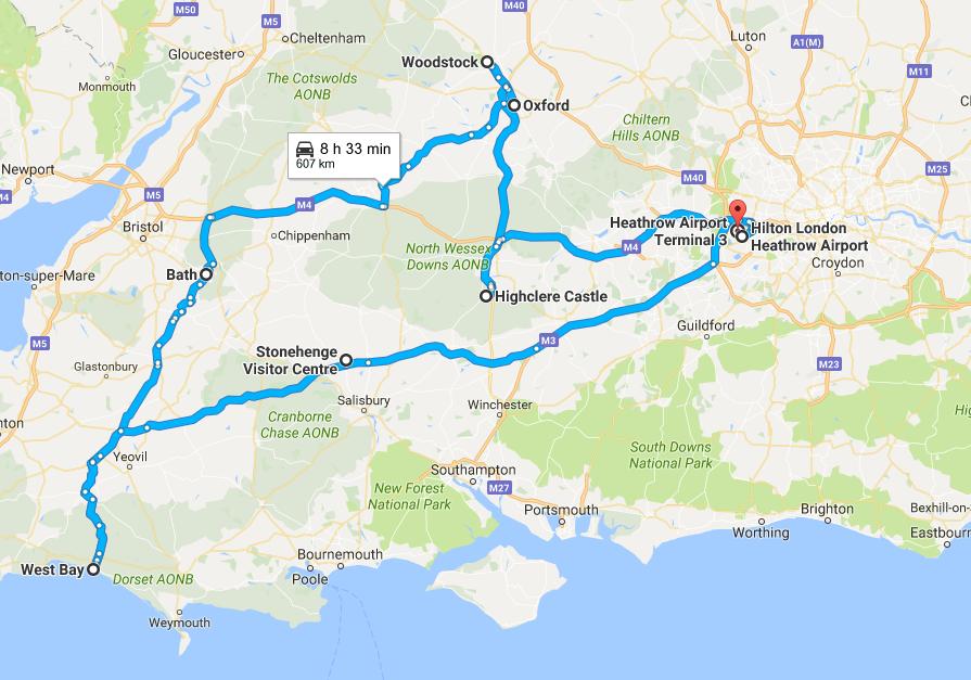 Parcours Sud Angleterre ou partir en voyage